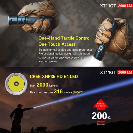 Klarus XT11GT Cree XPH35 HD E4 2000 Lumens LED Flashlight