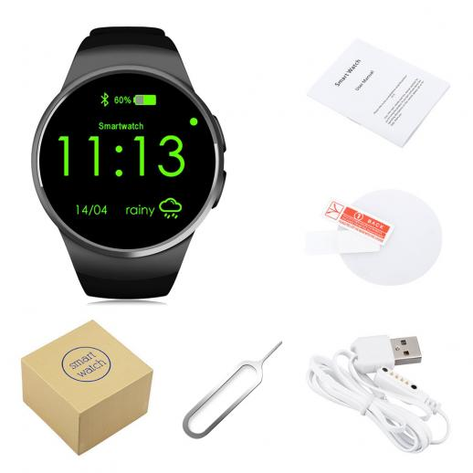 KingWear KW18 Smartwatch Bluetooth 4.0 Heart Rate Monitor - Black