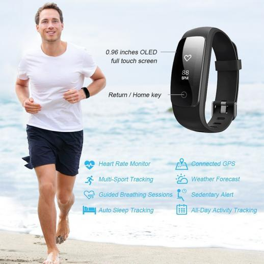 ID107Plus Smart Bracelet Fitness Tracker Heart Rate Monitor - Black