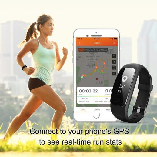 ID107Plus Smart Bracelet Fitness Tracker Heart Rate Monitor - Black