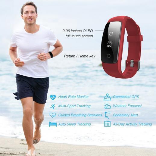ID107Plus Smart Bracelet Fitness Tracker Heart Rate Monitor - Red