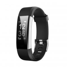 ID115HR PLUS Smart Bracelet Sports Watch Fitness Tracker Heart Rate Monitor - Black