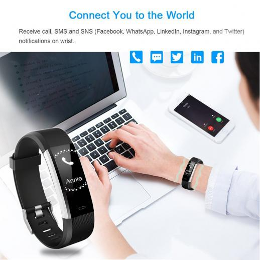 ID115HR PLUS Smart Bracelet Sports Wristband Fitness Tracker Heart Rate Monitor - Black