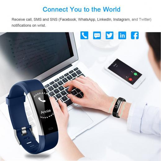 ID115HR PLUS Smart Bracelet Sports Wristband Fitness Tracker Heart Rate Monitor - Blue
