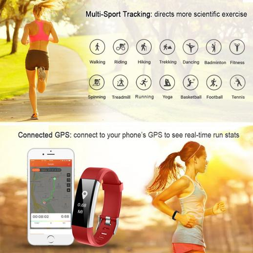 ID115HR PLUS Smart Bracelet Sports Wristband Fitness Tracker Heart Rate Monitor - Red