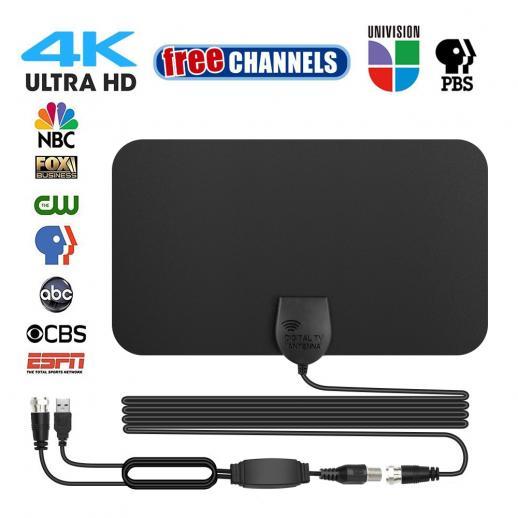 Antena de TV Indoor Digital HDTV 4k 1080p ATSC Padrão 20-50 milhas com Amplificador USB 21 * 12 cm