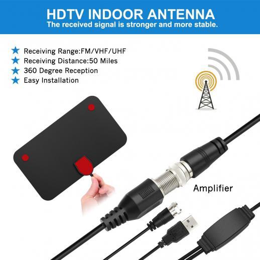 Indoor TV Antenna Digital HDTV 4k 1080p ATSC Standard 20-50 miles with USB Amplifier 21*12cm