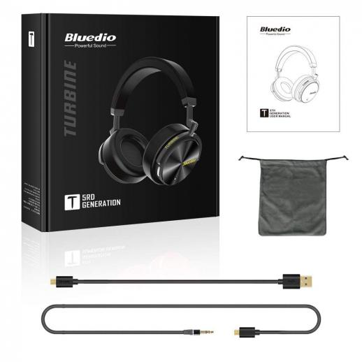Bluedio T5 Active Noise Cancelling Bluetooth Headphones - Black