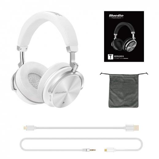 Bluedio T4S Active Noise Cancelling Bluetooth Headphones - White