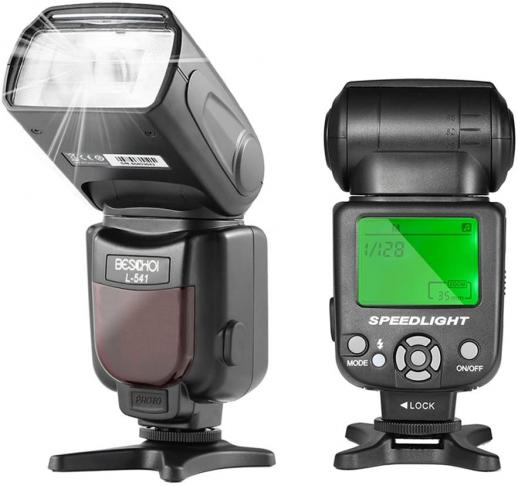 Beschoi L541 Speedlite Flash Universal On-camera Flash with LCD Display for Canon Nikon Panasonic Olympus Pentax and Other DSLR Cameras with Standard Hot Shoe