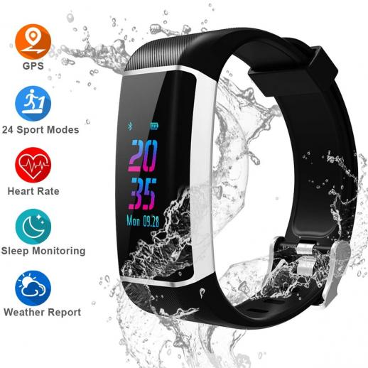 GPS Fitness Tracker, Color Screen Activity Tracker Watch with Heart Rate Monitor, Built-in GPS,with 24 Sport Modes, IPX67 Waterproof Bluetooth Smart Wristband with Step Counter, Calorie Counte