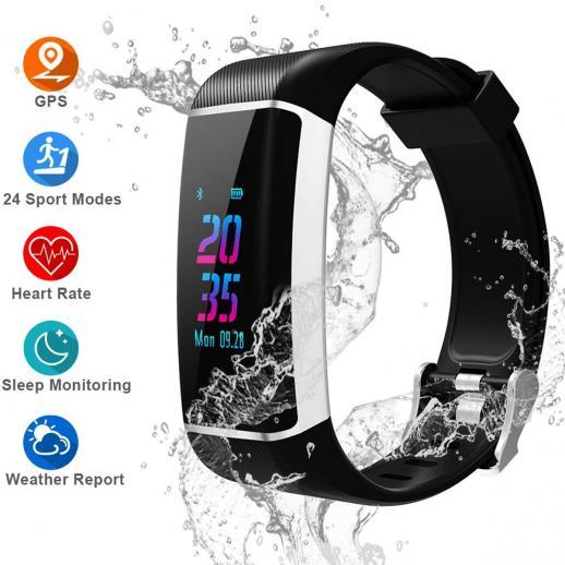 GPS Fitness Tracker, Monitor de atividade de tela colorida com monitor de freqüência cardíaca, GPS embutido, com 24 modos esportivos, Pulseira inteligente Bluetooth impermeável IPX67 com contador de passos, Contagem de calorias