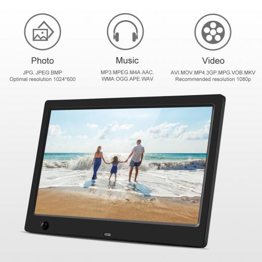 10inch Digital Photo Frame HD LED Videos 1024*600 16:9 with Motion Sensor, MP3/Calendar/Clock/E-book EU Plug