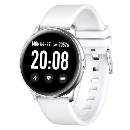 KW19 Pro Full Screen Touch Smart Watch Blood Pressure Heart Rate Monitor Fitness Tracker- White