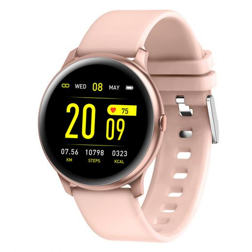 KW19 Pro Full Screen Touch Smart Watch Blood Pressure Heart Rate Monitor Fitness Tracker-Pink