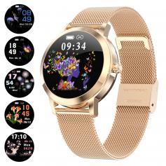 KW10 Women Smart Watch Lady Fitness Bracelet Smartwatch Clock IP68 Waterproof Heart Rate Monitor For Android IOS Sport Tracker-Golden