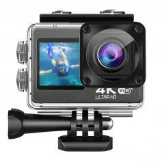 4K 60fps Dual-Screen Waterproof Sports Camera Support Wifi Control Remote Control Anti-Shake Black