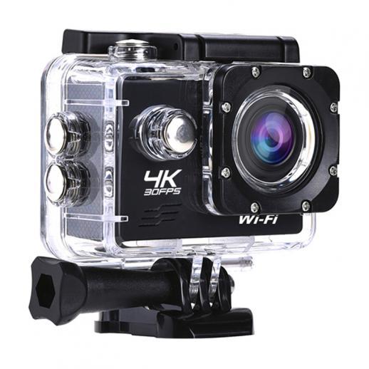 AT-Q14K30FPSスポーツアクションカメラUltraHDカムコーダー13MPWiFi防水カメラ(ブラック)
