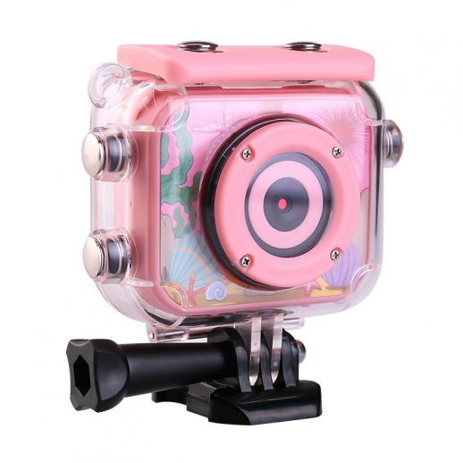 AT-G20B Kids Action Camera 1080P HD Waterproof Video Digital Children Sports Camcorder, 32GB SD Card (Pink)