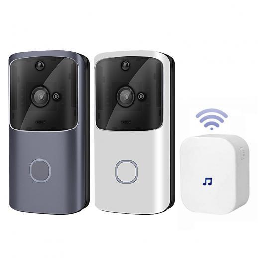 Campainha de vídeo inteligente M10S mini WiFi, campainha de segurança doméstica remota sem fio 720P HD, câmera campainha de visão noturna com áudio 2 vias, à prova de intempéries