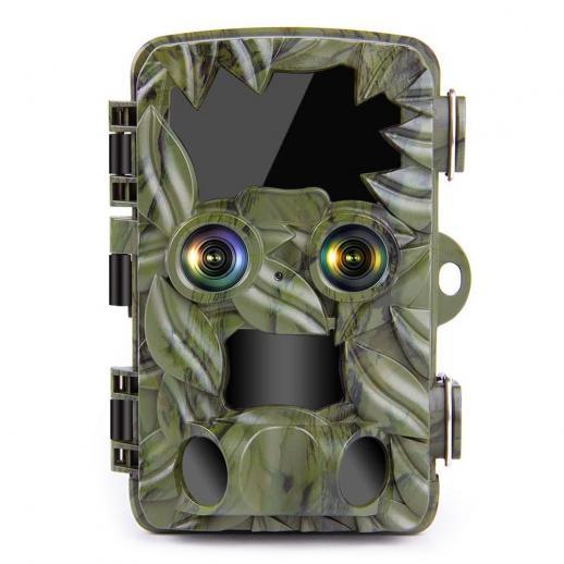 H8201トレイルカメラデュアルレンズ、スターライトナイトビジョン、4K野生生物カメラ、屋外野生生物モニタリング用のアクティブ化されたゲームカメラ