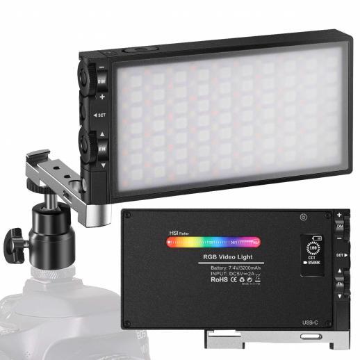 Luz de preenchimento RGB totalmente colorida Luz de bolso de bateria recarregável de 12 W integrada Luz de câmera LED 360 ° colorida 12 efeitos de iluminação comuns, luz de vídeo de painel de liga de alumínio LED CRI≥972500-8500K