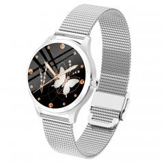 LW07 Full Circle Full Touch Female Smart Watch Bracelet DIY Dial Health Monitoring Support Android IOS Silver