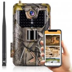 AU LTE 4G Cellular Trail Cameras 30MP 4k Live Video Wireless Camera for Wildlife Monitoring with 120°Detection Range Motion Activated Night Vision Waterproof
