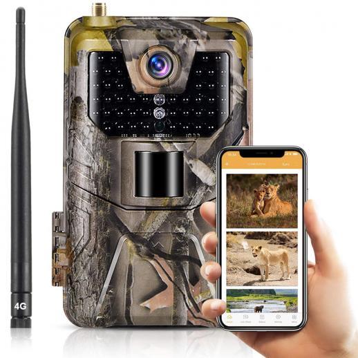 LTE4Gセルラートレイルカメラ30MP4kライブビデオワイヤレスカメラ、120°検出範囲の野生生物モニタリング用モーションアクティベートナイトビジョン防水