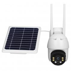 Wireless Outdoor Security Camera Solar Power 2-way talk PTZ Security Intercom Video Camera, 3MP Night Vision CCTV Surveillance Camera