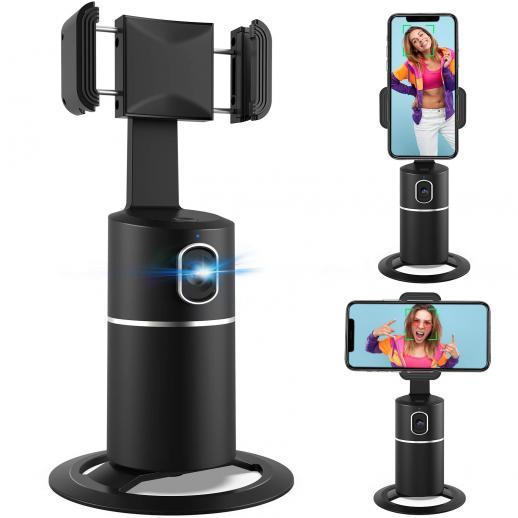 360° Face Tracking Phone Holder Desktop Tripod for Selfie Vlog Facetime YouTube Tik Tok, iPhone, Android Universal Phone Mount 6-8h Battery