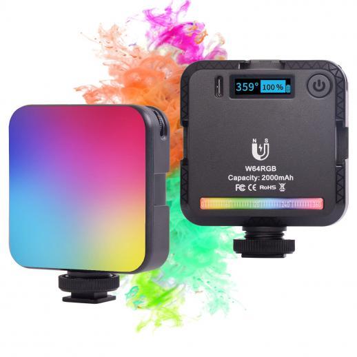 フルカラーRGBフィルライトポケットライト6w、内蔵2000mah充電式バッテリー、LEDカメラライト、20シーンモード、0-100%無段階調光、2500-9000K、マグネット吸着機能付きVLOGフィルライトライブライト