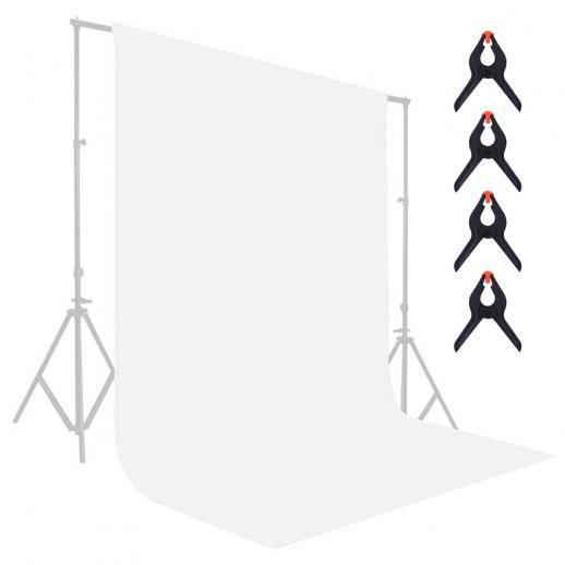 1.8*2.8m white muslin background, foldable soft seamless keying cloth with 4 spring clips, used for video photography and TV
