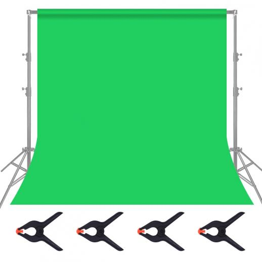 1.8*2.8m green muslin background, foldable soft seamless keying cloth with 4 spring clips, used for video photography and TV
