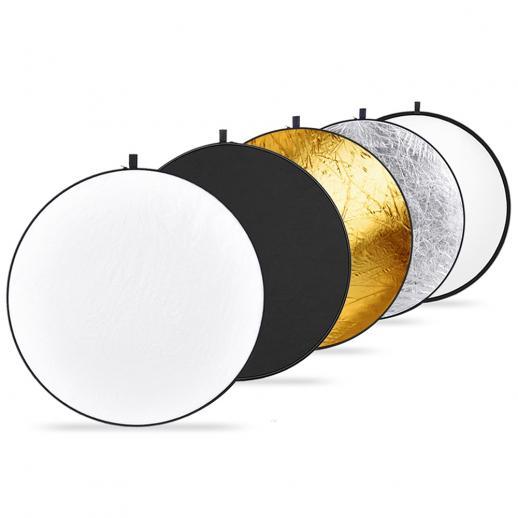 "43""/110cm Reflectors 5 in 1 Folding Multi-Disc Belt Bag-Translucent, Silver, Gold, White and Black for Photography Studio Lighting Outdoor Lighting"