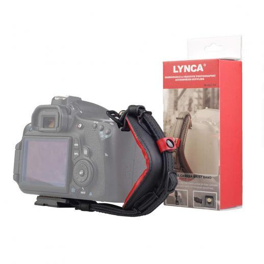 Camera Leather Wrist Strap Lynca e6 Adjustable Camera Grip Belt with Quick Release Plate for Canon Nikon, Sony Fujifilm DSLR Cameras Black