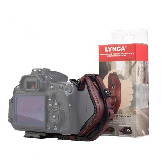 Camera Leather Wrist Strap Lynca e6 Adjustable Camera Grip Belt (with Quick Release Plate) for Canon Nikon, Sony Fujifilm DSLR Cameras Brown
