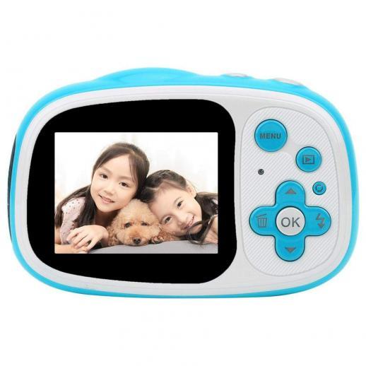 防水子供用カメラ、水中デジタル子供用カメラ5MPフルHD 720pビデオかわいいカメラ2.0インチLCD、6倍デジタルズーム、女の子/男の子用防水カメラ(青)