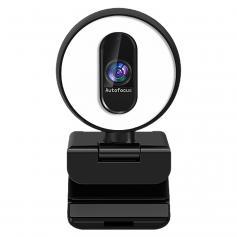 H100 60FPS Webcam with Fill Light Autofocus 1080p USB Webcam with Dual Microphones Plug and Play USB Webcam for PC Desktop Mac Zoom Skype YouTube