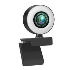 V30 1080p Webcam with Microphone & Ring Light Plug and Play Webcam Streaming Webcam USB Webcam for PC Desktop Mac Zoom Skype YouTube