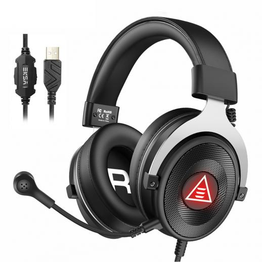 USB Gaming Headset Wired Over Head PC Computer Headset for PS4/PS5/Laptops