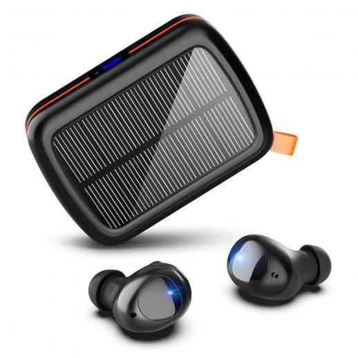 ワイヤレスイヤフォン160H再生時間HI-FIステレオBluetooth5.0イヤフォン(ソーラーおよびUSB-C高速充電ボックス付き)ノイズキャンセリングマイクスポーツイヤフォン