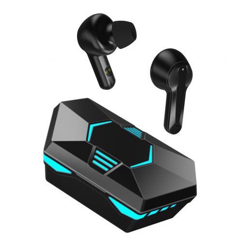 X23ワイヤレスBluetooth5.1ヘッドセット、マイク付き低遅延Hifiステレオタッチコントロールゲーミングイヤフォン、デジタルディスプレイ付き