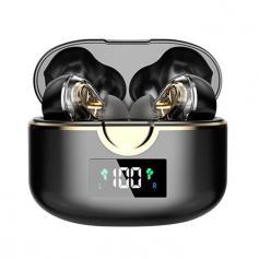 Dual-Speaker Bluetooth Headset Waterproof Sports Earbuds LED Power Display