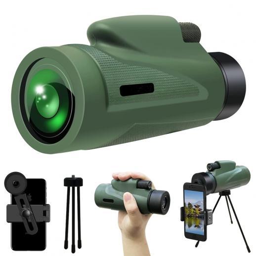 12x50 HD Monocular with Phone Holder Low Night Vision Monocular Waterproof bBAK4 Prism for Hunting Bird Watching Hiking
