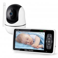 """720P 5"""" HD Display Two-Way Audio Video Baby Monitor with Night Vision & 12Hrs Battery"""