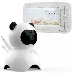 """5"""" LCD Panda Video Baby Monitor with Night Vision Camera Temperature Monitoring 2 Way Talk Lullaby Vox Function Connect Up to 4 Cameras EU Power Plug"""