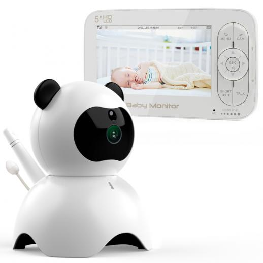 """5"""" LCD Panda Video Baby Monitor with Night Vision Camera Temperature Monitoring 2 Way Talk Lullaby Vox Function Connect Up to 4 Cameras US Power Plug"""