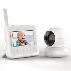 """4.3"""" Screen Baby Monitor with Rechargeable 18650 Battery With Color Comfort Lights Lullaby, VOX, Gimbal Function US Power Plug"""