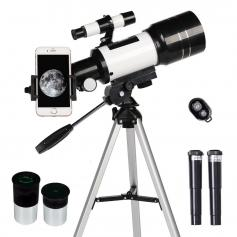 Astronomical telescope suitable for children and beginners, astronomical refracting telescope with 70mm aperture and 300mm focal length, portable travel telescope with tripod, smart phone holder and Bluetooth remote control